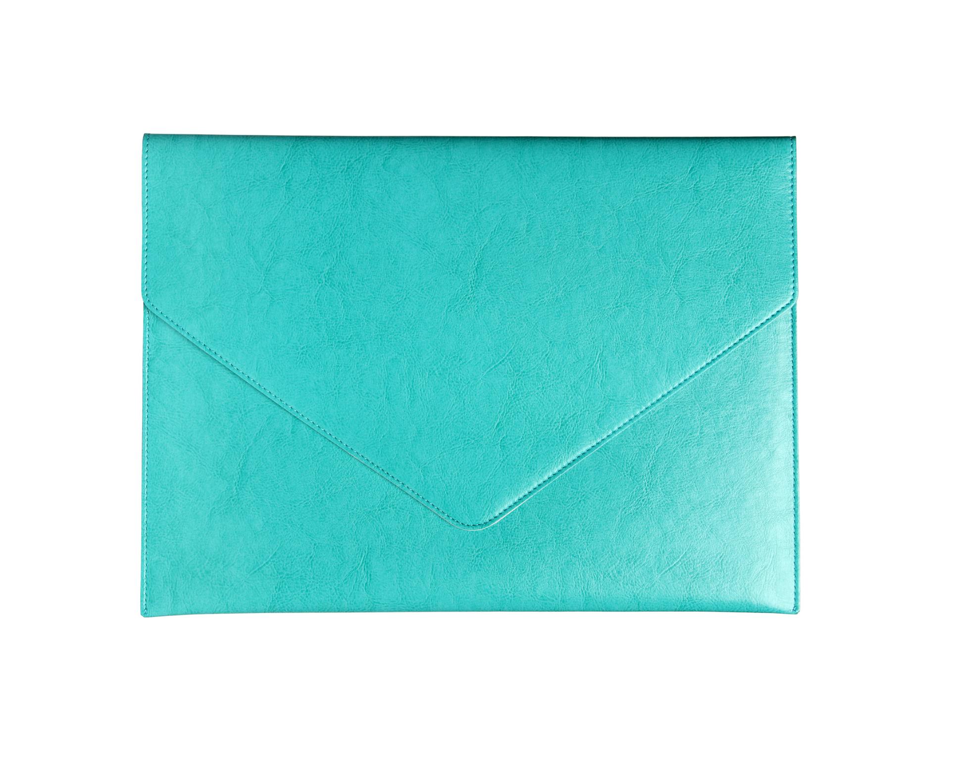 A4116-A - Bi-Color Lg Doc Envelope A4 -  AQUA w/Dove Grey Lining