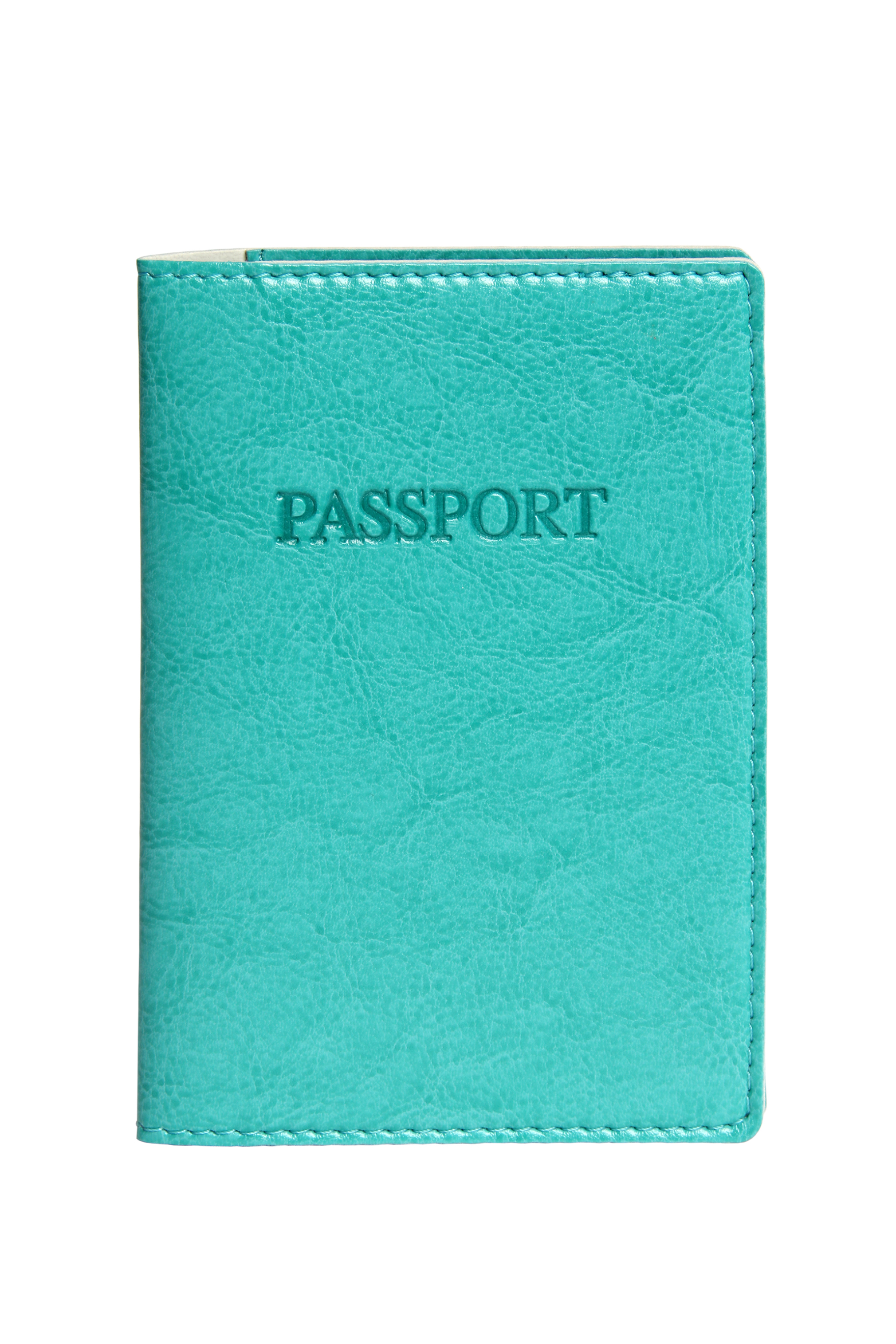 A4111-A - Bi-Color Passport Cover, AQUA w/Dove Grey Lining